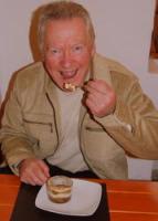 David tucks in to the great Tiramisu