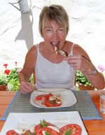 Pam enjoying her Caprese Salad Recipe