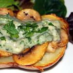 Baker with blue cheese and mushrooms