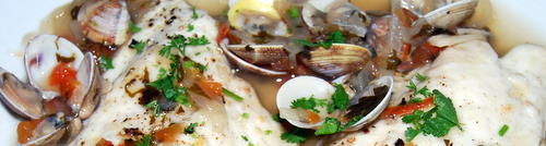 Fillets of Gilthead Dorado with clams vognole