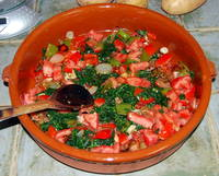 Tomatoes and Spinach in the Stargazy Pie Recipe