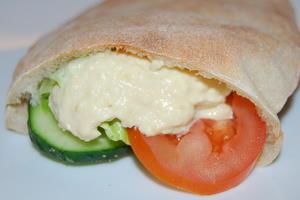 Homemade Hummus and salad in a Fresh Pitta Pocket.