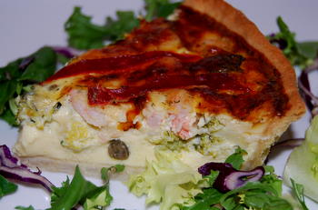 Easy Tasty Mediterranean Salmon Quiche Recipe