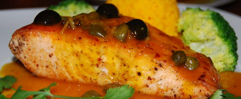 Pan Fried Salmon Cutlet with Orange, Lemon, Olive and Caper Sauce